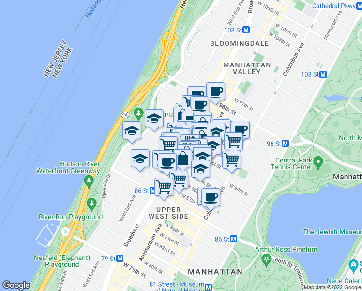 map of restaurants, bars, coffee shops, grocery stores, and more near Broadway & West 91st Street in New York