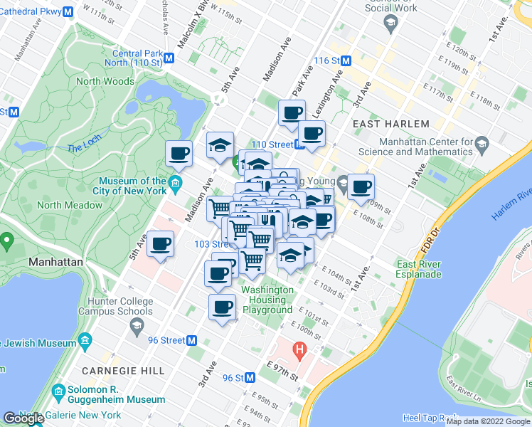 map of restaurants, bars, coffee shops, grocery stores, and more near 153 East 104th Street in New York