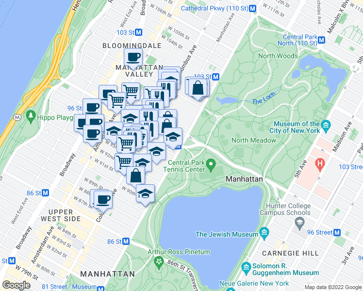 map of restaurants, bars, coffee shops, grocery stores, and more near Central Park West & West 96th Street in New York