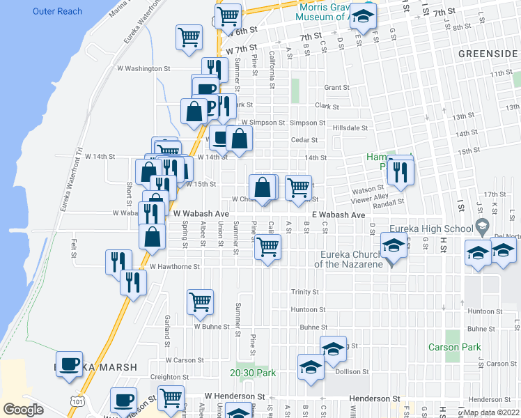 map of restaurants, bars, coffee shops, grocery stores, and more near 124 West Wabash Avenue in Eureka