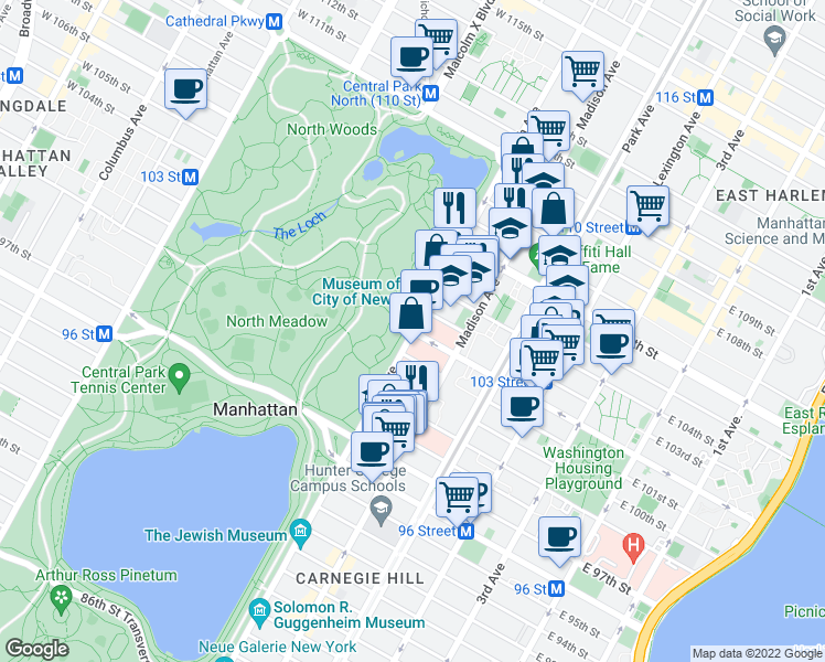 map of restaurants, bars, coffee shops, grocery stores, and more near 1219 5th Avenue in New York