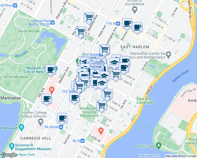 map of restaurants, bars, coffee shops, grocery stores, and more near 156 East 107th Street in New York