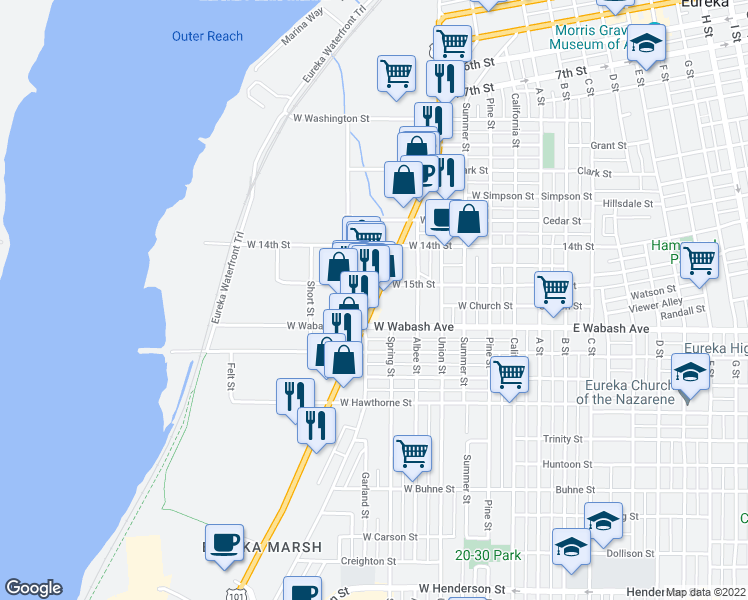 map of restaurants, bars, coffee shops, grocery stores, and more near 1650 Broadway St in Eureka