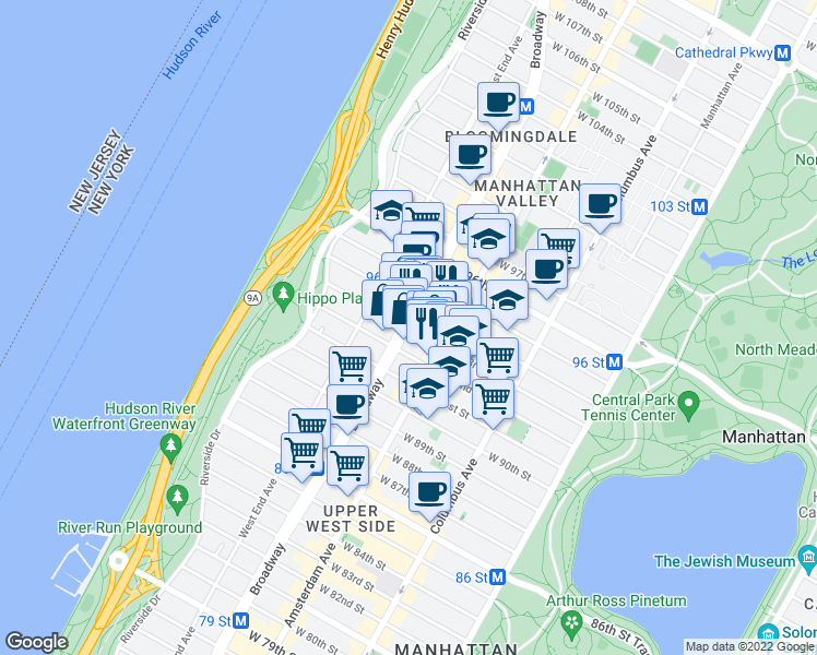 map of restaurants, bars, coffee shops, grocery stores, and more near Broadway & W 93rd St in New York