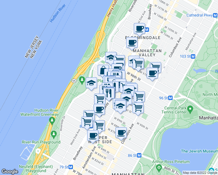 map of restaurants, bars, coffee shops, grocery stores, and more near 2481 Broadway in New York