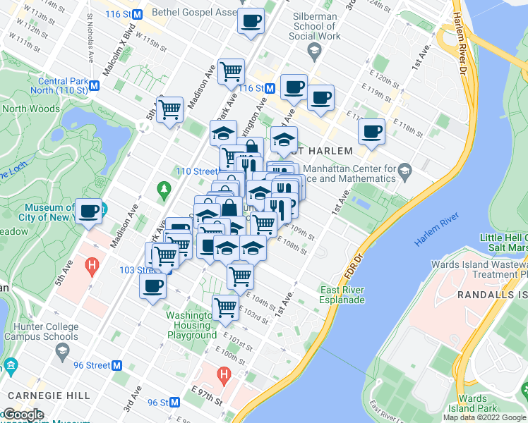 map of restaurants, bars, coffee shops, grocery stores, and more near 2095 2nd Ave in New York