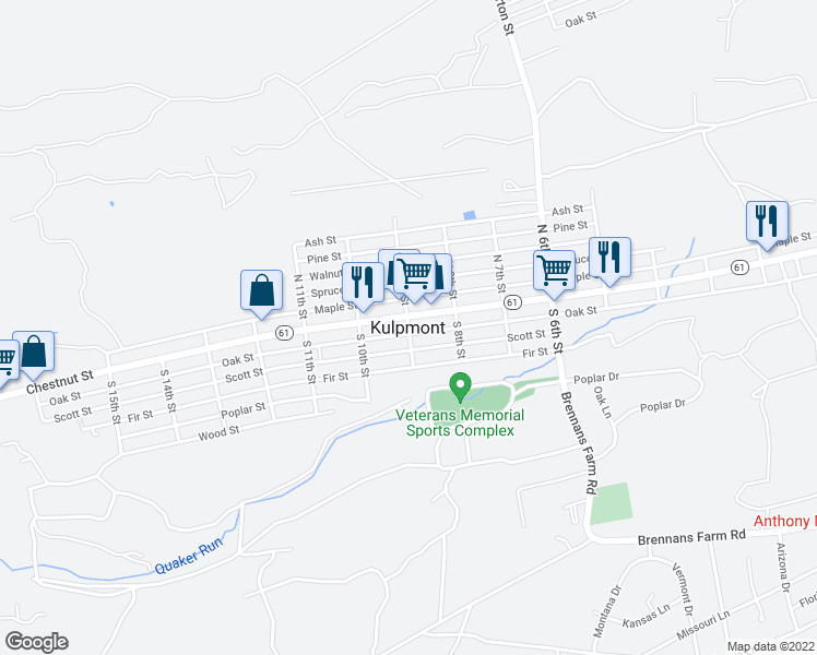map of restaurants, bars, coffee shops, grocery stores, and more near in Kulpmont