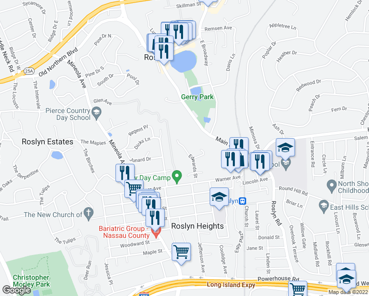 map of restaurants, bars, coffee shops, grocery stores, and more near 300 Edwards Street in Roslyn