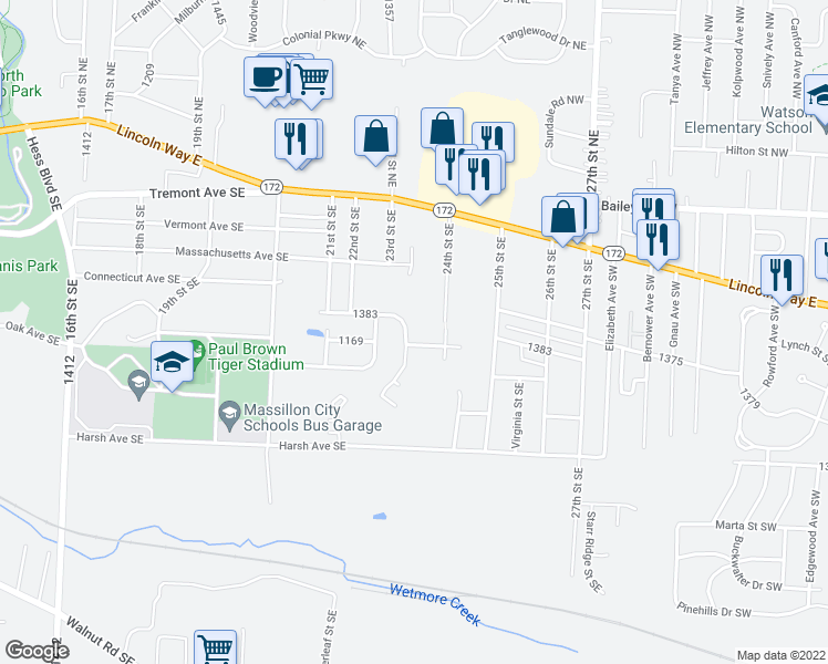 map of restaurants, bars, coffee shops, grocery stores, and more near 268 Underhill Drive Southeast in Massillon