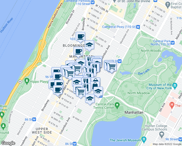 map of restaurants, bars, coffee shops, grocery stores, and more near in New York