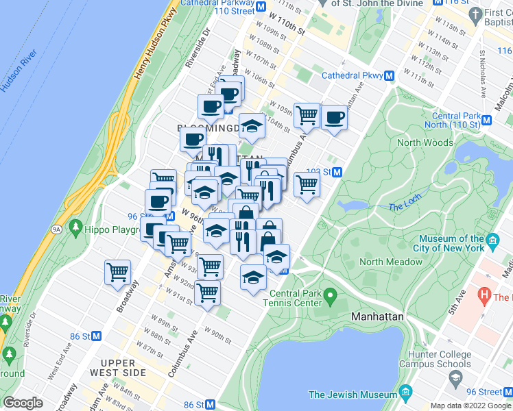 map of restaurants, bars, coffee shops, grocery stores, and more near 775 Columbus Avenue in New York
