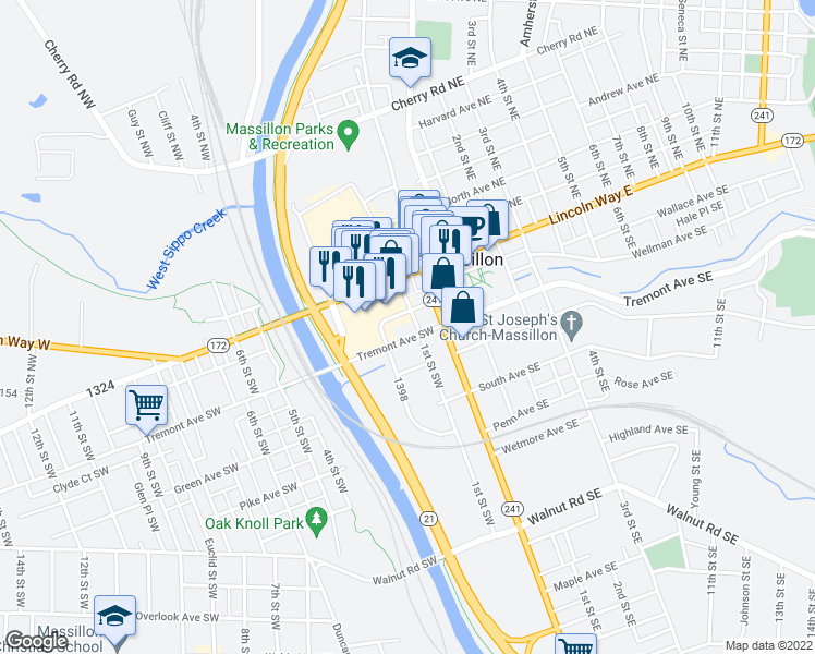 map of restaurants, bars, coffee shops, grocery stores, and more near 125 David Canary Drive Southwest in Massillon