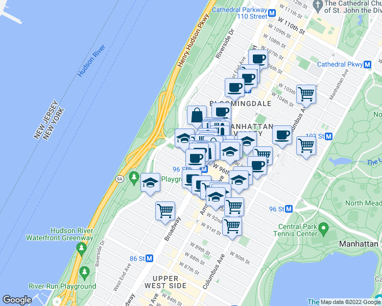 map of restaurants, bars, coffee shops, grocery stores, and more near 755-763 West End Avenue in New York