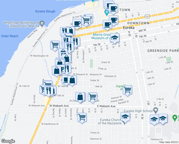 map of restaurants, bars, coffee shops, grocery stores, and more near 1136 A Street in Eureka