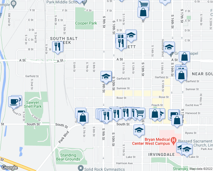 map of restaurants, bars, coffee shops, grocery stores, and more near 927 Sumner Street in Lincoln