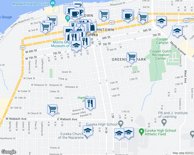 map of restaurants, bars, coffee shops, grocery stores, and more near 1134 H Street in Eureka