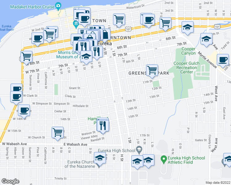 map of restaurants, bars, coffee shops, grocery stores, and more near 1125 H Street in Eureka