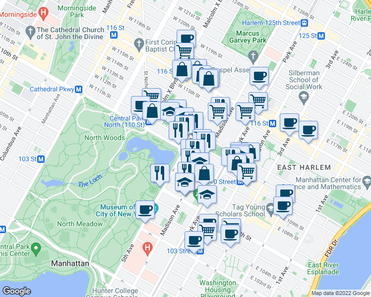 map of restaurants, bars, coffee shops, grocery stores, and more near 1309 5th Avenue in New York