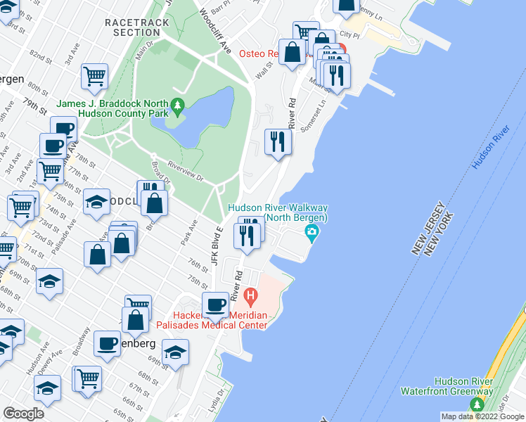 map of restaurants, bars, coffee shops, grocery stores, and more near River Road in North Bergen