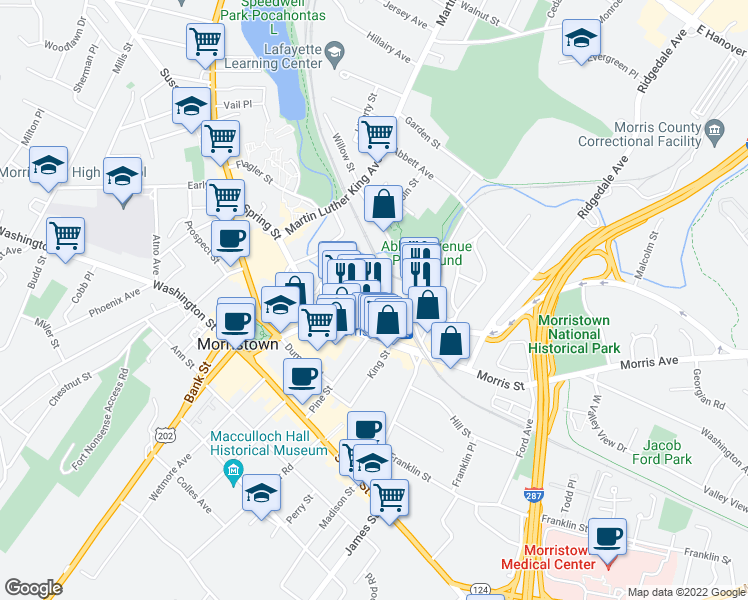 map of restaurants, bars, coffee shops, grocery stores, and more near 10 Lafayette Avenue in Morristown