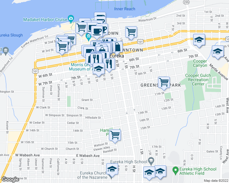 map of restaurants, bars, coffee shops, grocery stores, and more near 926 G St in Eureka