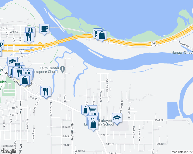 map of restaurants, bars, coffee shops, grocery stores, and more near 2836 North Street in Eureka