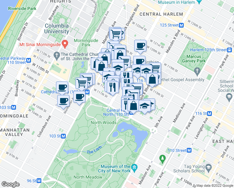 map of restaurants, bars, coffee shops, grocery stores, and more near 7th Ave & W 112th St in New York