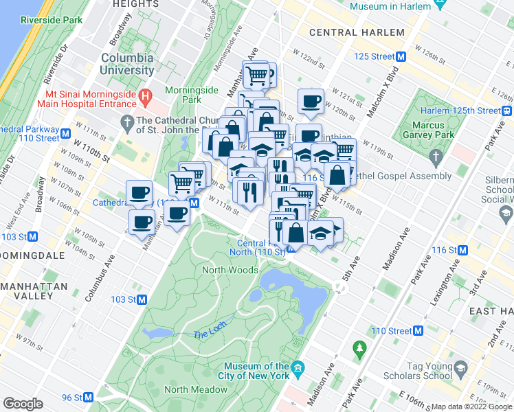 map of restaurants, bars, coffee shops, grocery stores, and more near 7th Avenue & West 112th Street in New York