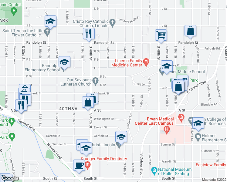 map of restaurants, bars, coffee shops, grocery stores, and more near 4240 Mohawk Street in Lincoln