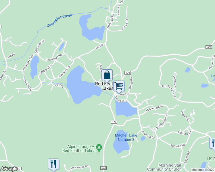 map of restaurants, bars, coffee shops, grocery stores, and more near in Red Feather Lakes