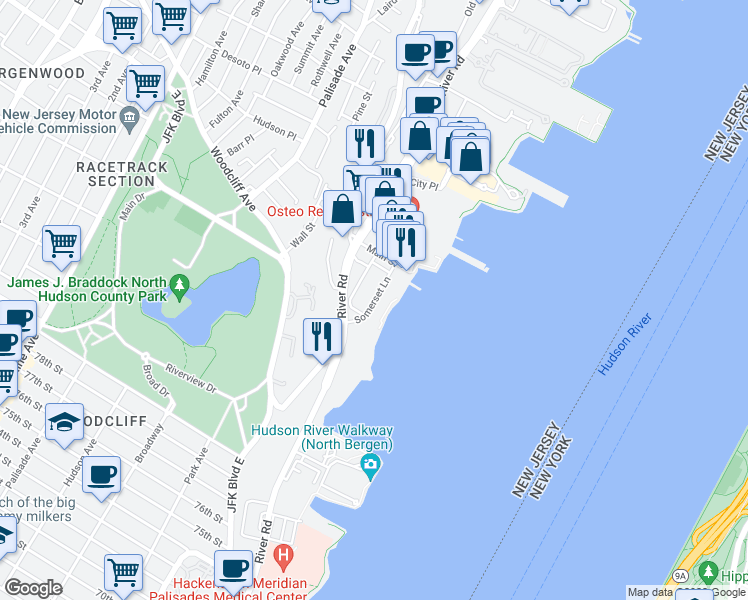 map of restaurants, bars, coffee shops, grocery stores, and more near 3 Somerset Lane in Edgewater