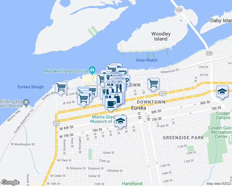 map of restaurants, bars, coffee shops, grocery stores, and more near 433 3rd Street in Eureka
