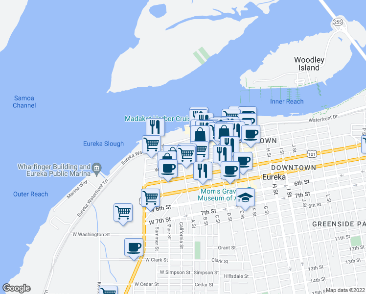 map of restaurants, bars, coffee shops, grocery stores, and more near 1 2nd Street in Eureka