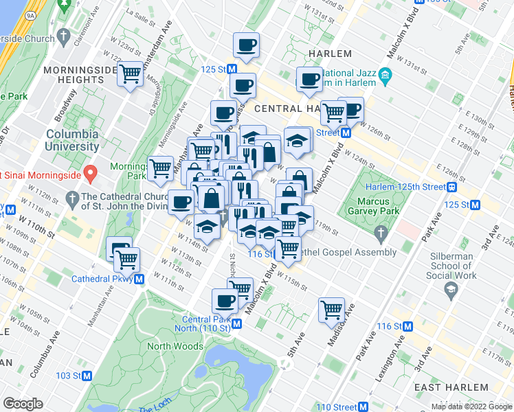 map of restaurants, bars, coffee shops, grocery stores, and more near 160 West 118th Street in New York