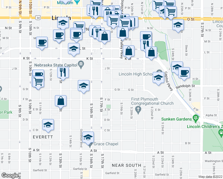 map of restaurants, bars, coffee shops, grocery stores, and more near South 18th Street in Lincoln