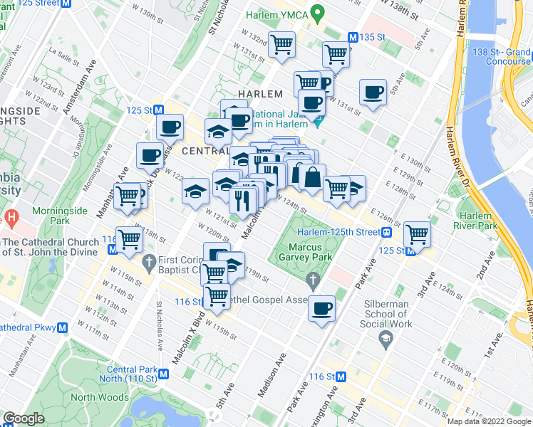 map of restaurants, bars, coffee shops, grocery stores, and more near 12 West 123rd Street in New York