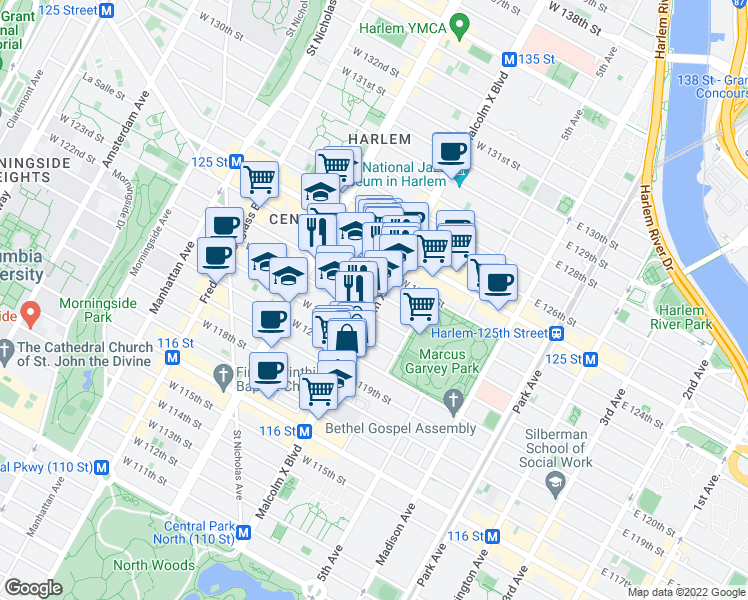 map of restaurants, bars, coffee shops, grocery stores, and more near 1-99 West 123rd Street in New York