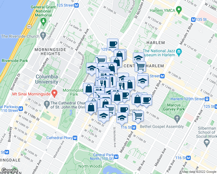 map of restaurants, bars, coffee shops, grocery stores, and more near 267-271 West 119th Street in New York