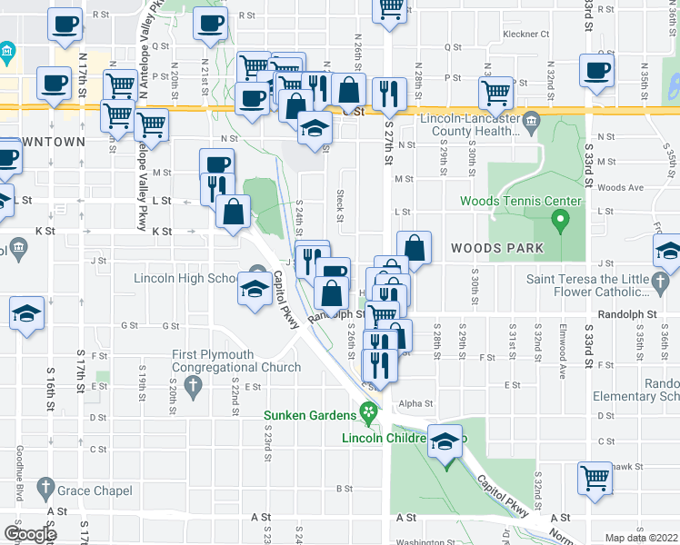 map of restaurants, bars, coffee shops, grocery stores, and more near 2515 J Street in Lincoln
