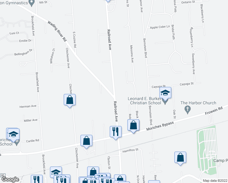 map of restaurants, bars, coffee shops, grocery stores, and more near Railroad Avenue in Center Moriches