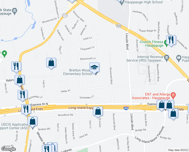 map of restaurants, bars, coffee shops, grocery stores, and more near 1 Club Lane in Hauppauge
