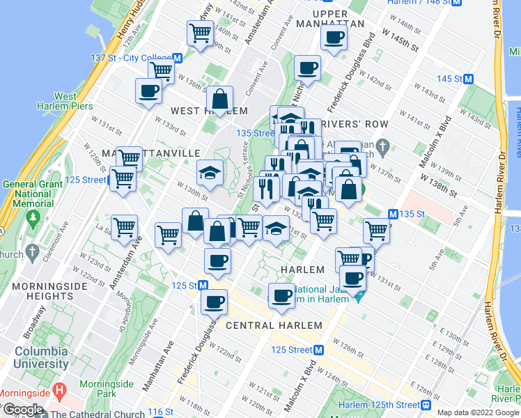 map of restaurants, bars, coffee shops, grocery stores, and more near 440 Saint Nicholas Avenue in New York