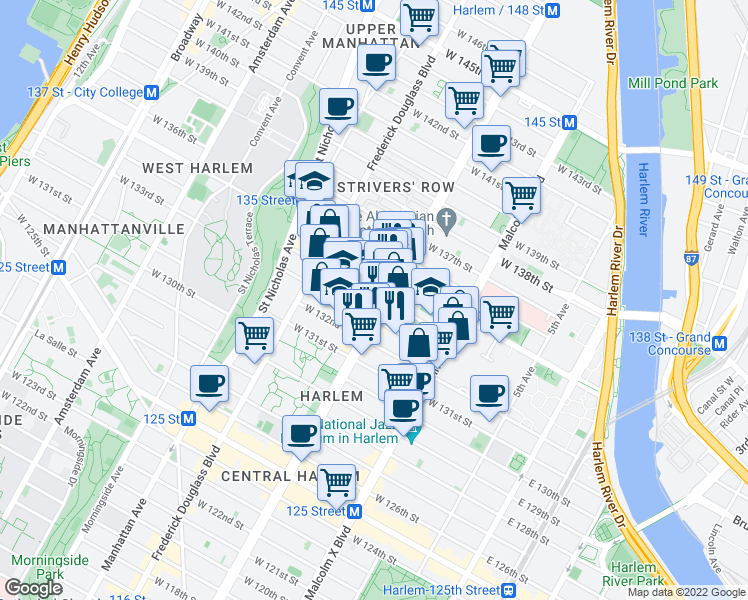 map of restaurants, bars, coffee shops, grocery stores, and more near 2286 Adam Clayton Powell Junior Boulevard in New York