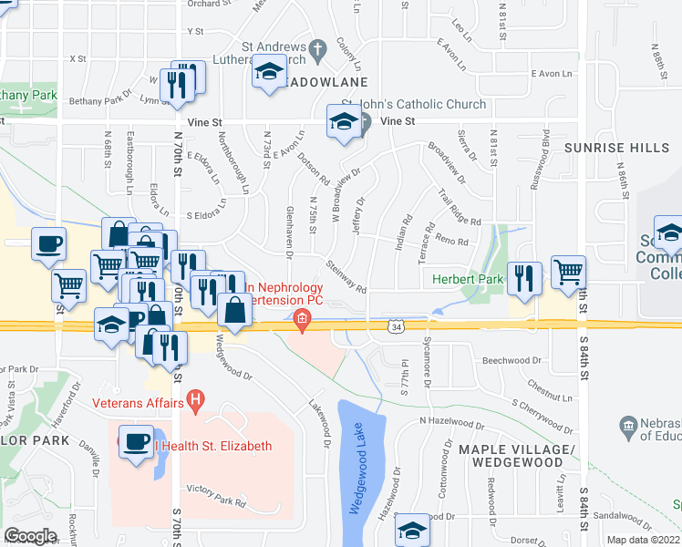map of restaurants, bars, coffee shops, grocery stores, and more near Steinway Road in Lincoln