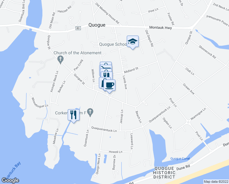 map of restaurants, bars, coffee shops, grocery stores, and more near 52 Quogue Street in Quogue