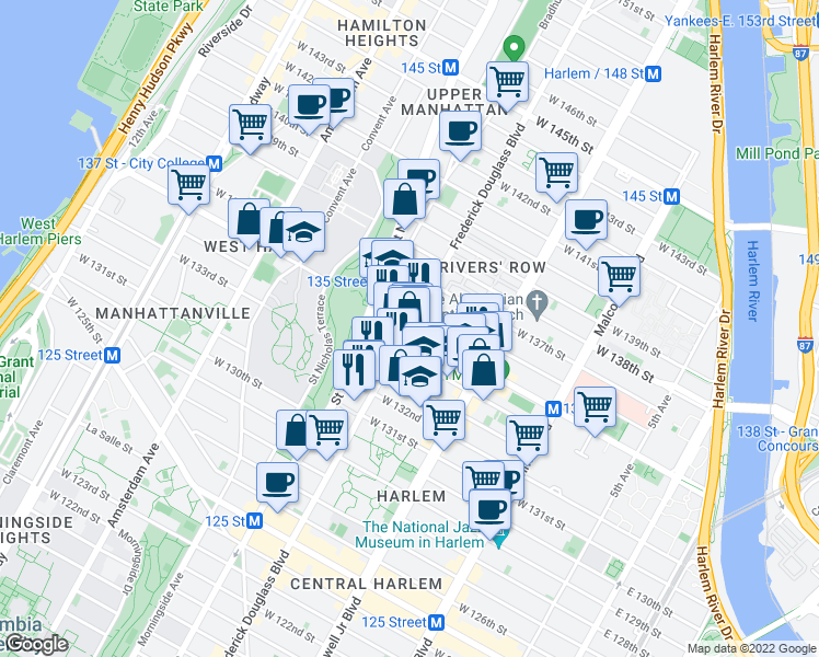 map of restaurants, bars, coffee shops, grocery stores, and more near 300 West 135th Street in New York