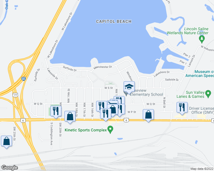 map of restaurants, bars, coffee shops, grocery stores, and more near 510 Surfside Drive in Lincoln
