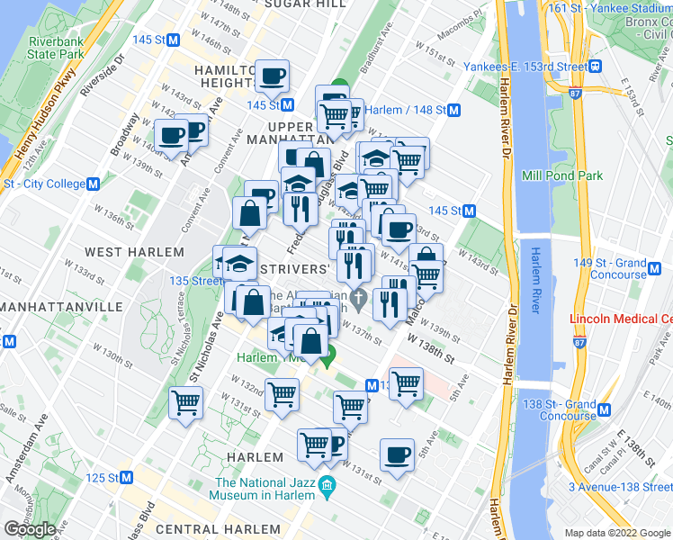 map of restaurants, bars, coffee shops, grocery stores, and more near 204 West 139th Street in New York