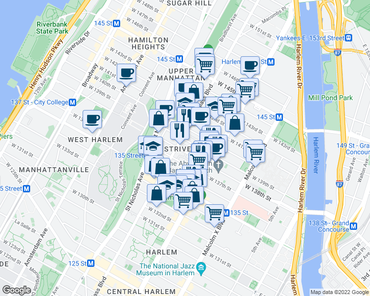 map of restaurants, bars, coffee shops, grocery stores, and more near 261 West 138th Street in New York