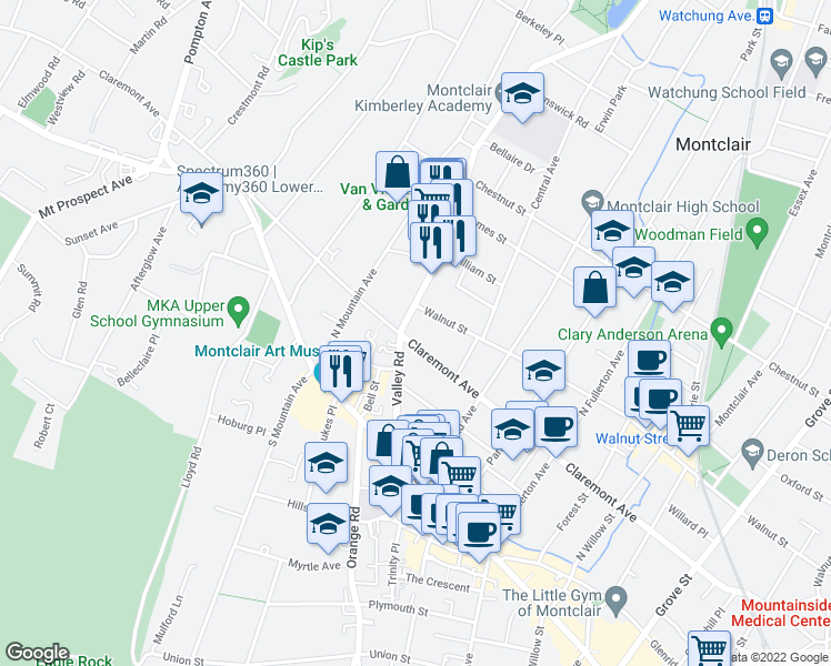 map of restaurants, bars, coffee shops, grocery stores, and more near 301 Claremont Avenue in Montclair
